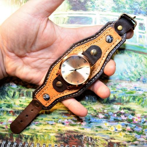 Часовой браслет ( углицкий обрУчъ ) кожаный с снежным обсидианом