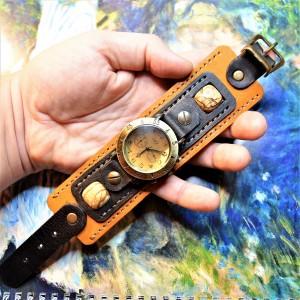 Часовой браслет ( углицкий обрУчъ ) кожаный с песочной яшмой