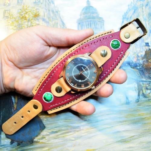Часовой браслет ( углицкий обрУчъ ) кожаный с малахттом