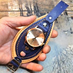 Часовой браслет ( углицкий обрУчъ ) кожаный с родонитом