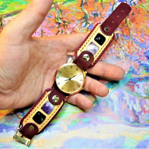 Часовой браслет ( углицкий обрУчъ ) кожаный с аметистом и черным ониксом